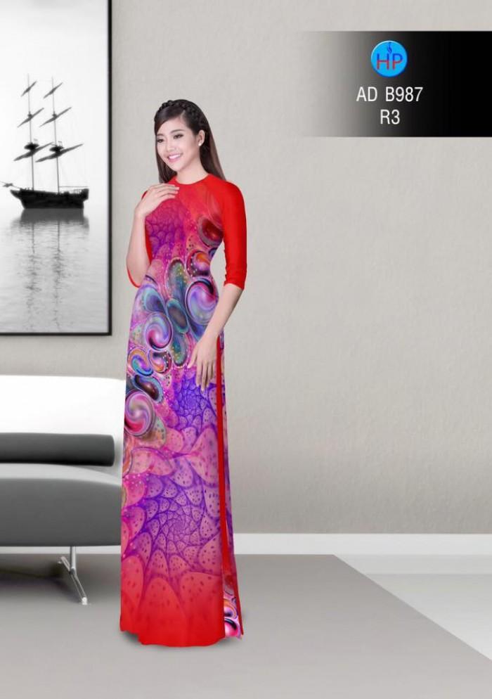 Vải áo dài hoa ảo 3D ADB98713