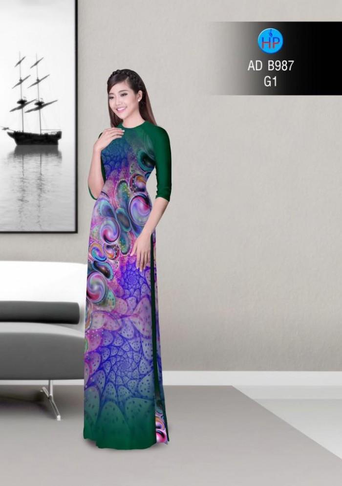 Vải áo dài hoa ảo 3D ADB98714