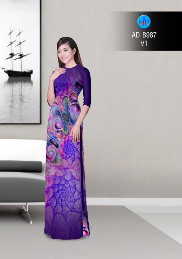 Vải áo dài hoa ảo 3D ADB98715