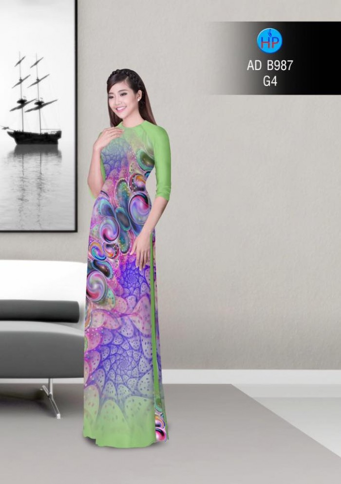 Vải áo dài hoa ảo 3D ADB98716