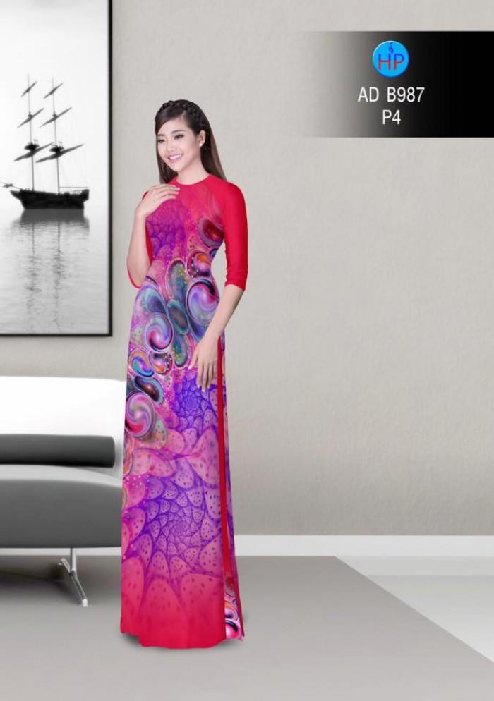 Vải áo dài hoa ảo 3D ADB98717