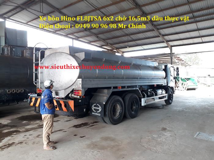 Xe bồn inox Hino chở dầu thực vật