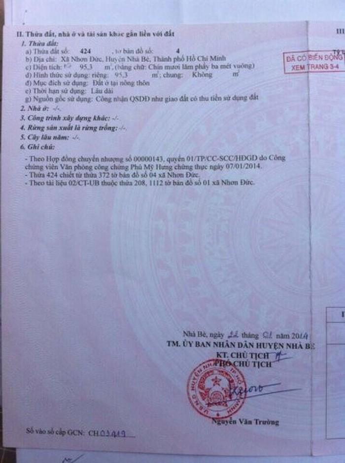 Cần bán lô đất MT hẻm 8m, đường Lê Văn Lương, Phứơc Kiểng, Nhà Bè.Giá 2,2 tỷ