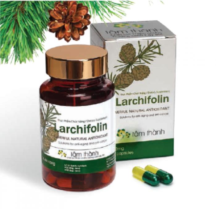 Larchifolin với chiết xuất tinh dầu thông đỏ, có tác dụng giúp tăng cường sức khỏe, giảm Cholesterol máu xấu, ngăn ngừa và giảm xơ vữa mạch. Hạn chế sự phát triển của tế bào gốc tự do. Liên hệ 0938 920 693