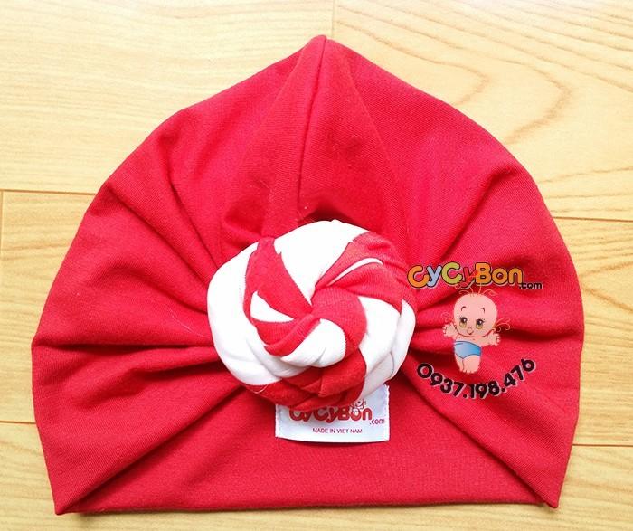 Nón Turban Cho Bé Màu Đỏ Xoắn Ốc Sọc