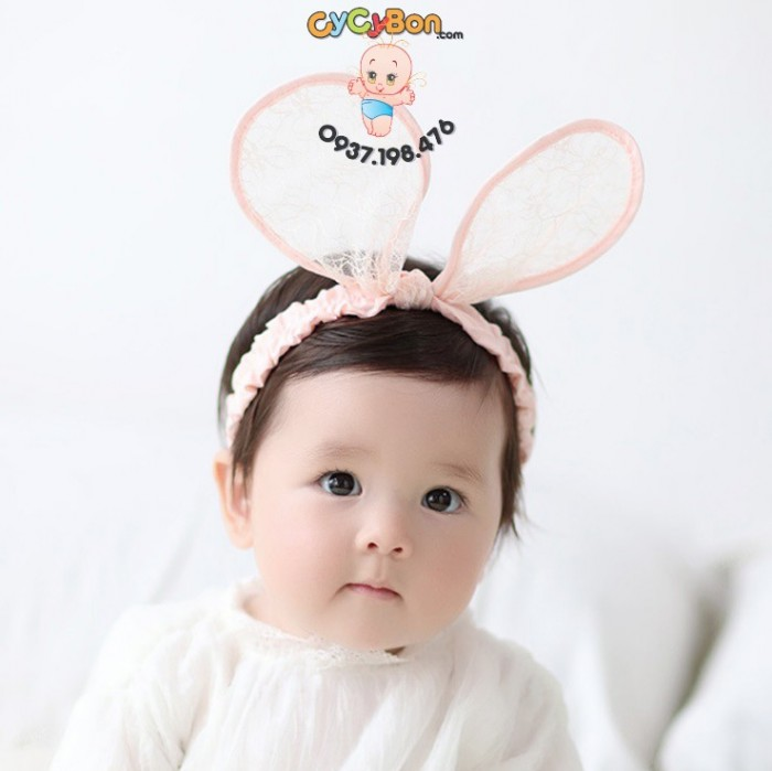 Băng Đô Cho Bé Tai Thỏ Vải Ren