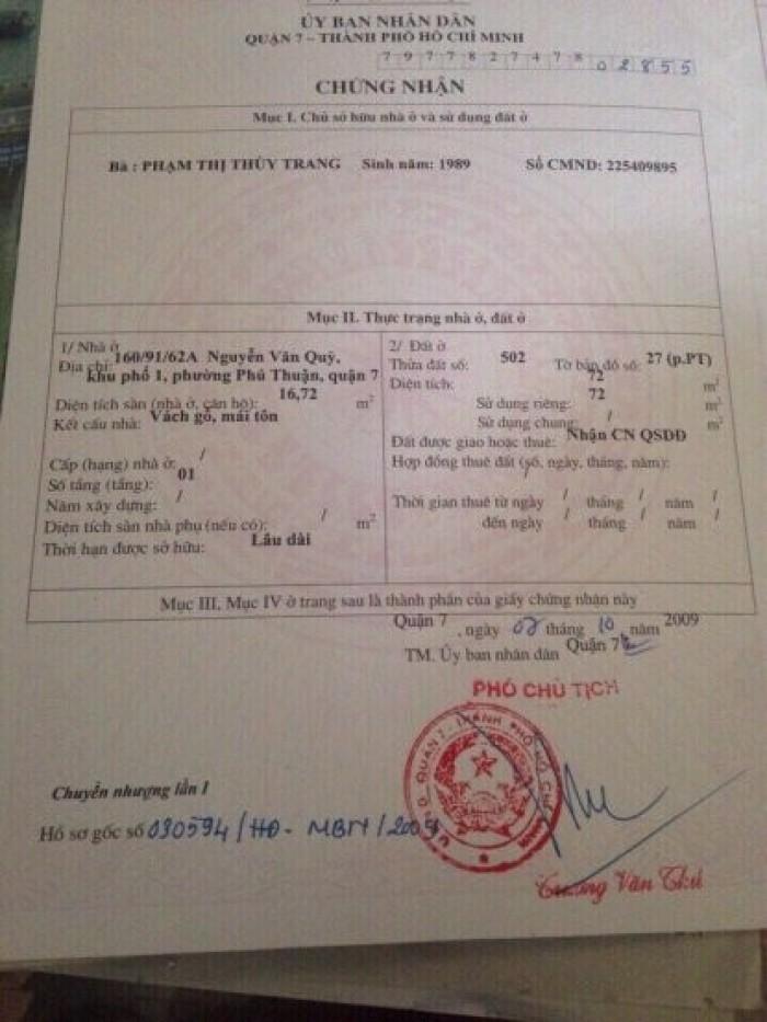 Hàng Hot,bán đất hẻm xe hơi, Nguyễn Văn Quỳ, Q7, DT 4x18m.Giá 2,2 tỷ