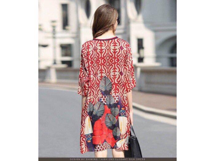 Đầm suông họa tiết in 3d