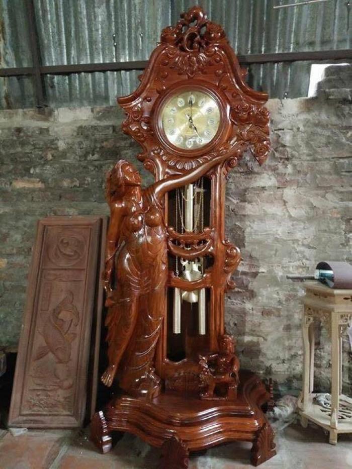 Cây đồng hồ cô tiên gỗ hương vân 2m30x80  Đồ Gỗ Mạnh Tráng biếu tặng trang trí đẹp mê  hồn