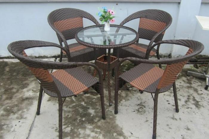 Thi công ] Bàn ghế cafe nhựa giả mây giá thanh lý.. - tại hải phòng gọi 0834567824