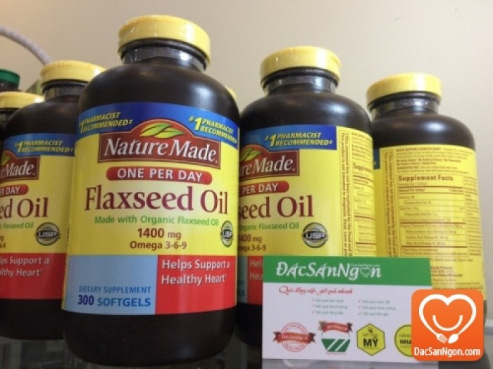 Viên uống Tinh dầu hạt lanh Nature Made Flaxseed oil 1400 mg hộp 300 viên - Omega 3 6 9 của Mỹ. Hàng nhập chính hãng USA
