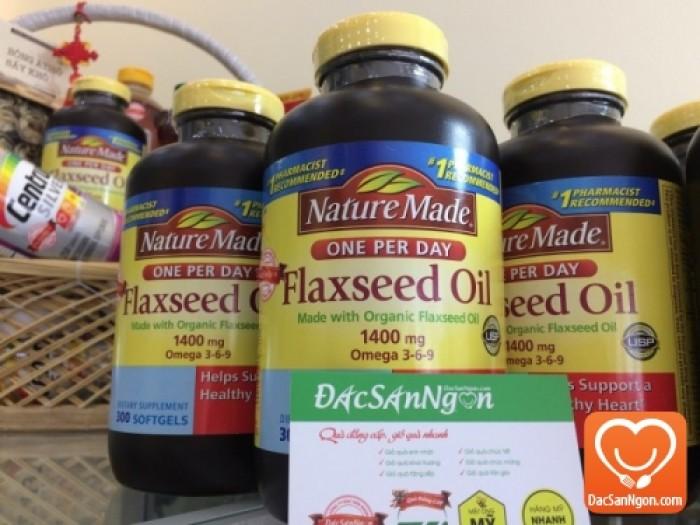 Tinh dầu hạt lanh Nature Made Flaxseed oil 1400 mg Omega 3-6-9 là viên uống từ dầu hạt lanh nguyên chất (Organic Flaxseed Oid) của nhãn hàng Nature Made.