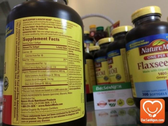 Thông tin trên nhãn chai Tinh dầu hạt lanh Nature Made Flaxseed oil 1400 mg Omega 3-6-9