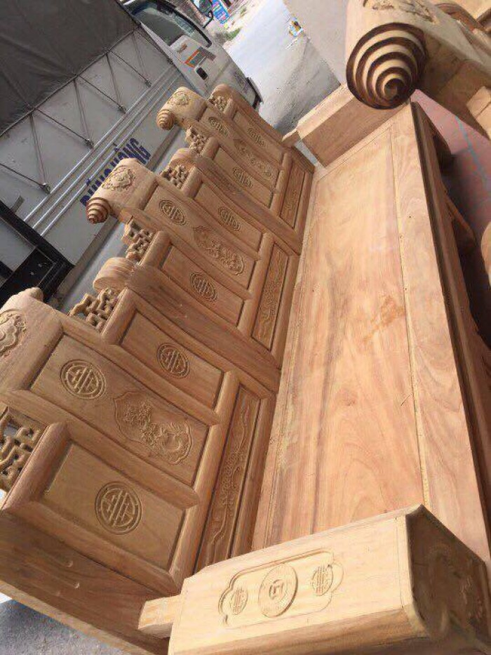 Bộ bàn ghế âu á kiểu cuốn thư tay hộp gỗ lim8