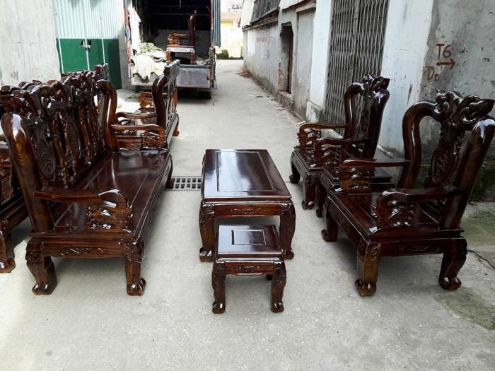 Bộ Bàn Ghế Gỗ Tràm Phun Pu Giả Mun1