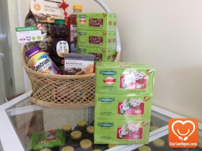 Trà Atiso túi lọc hộp 20 tép Thái Bảo trong giỏ quà tặng sức khỏe dành tặng người thân và bạn bè