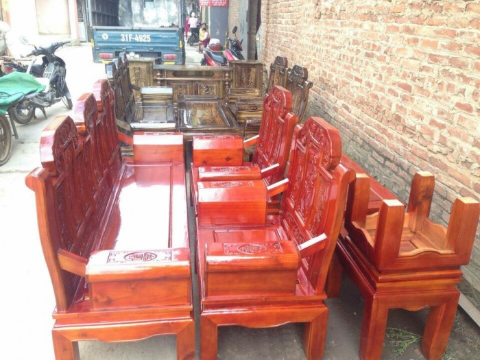 Bộ bàn ghế như ý hộp voi gỗ tràm 2m2 và 2m40