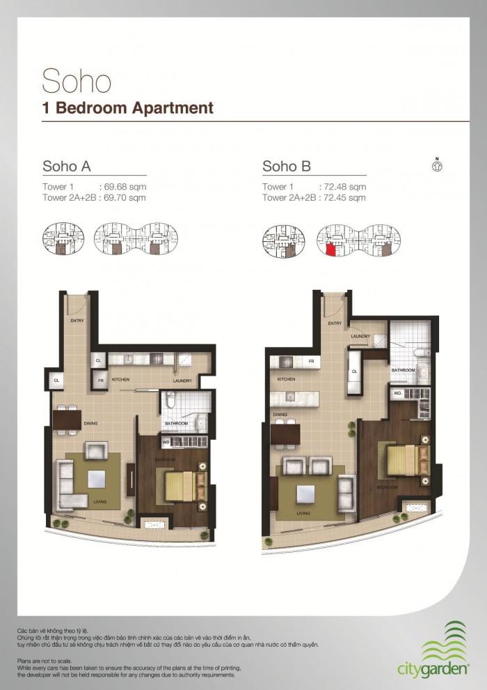 Bán căn hộ City Garden 1PN, 72,45m2, Giá 3.9 thương lượng ít
