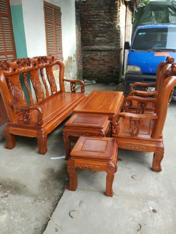 Bộ bàn ghế phòng khách kiểu hồng tàu gỗ hương vân0