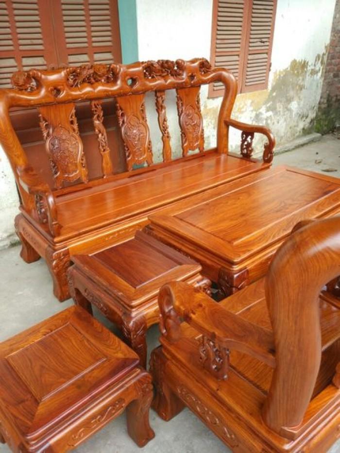 Bộ bàn ghế phòng khách kiểu hồng tàu gỗ hương vân2