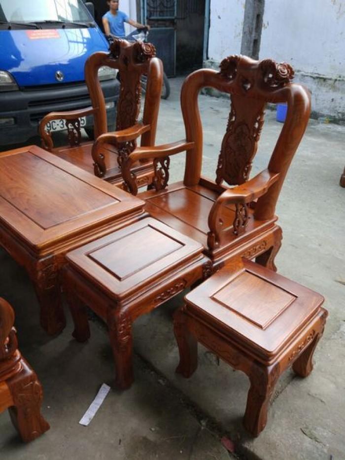 Bộ bàn ghế phòng khách kiểu hồng tàu gỗ hương vân3