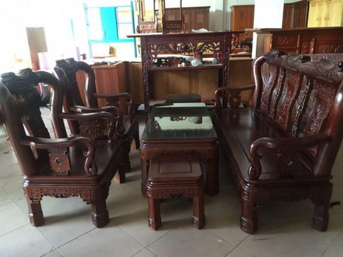 Bộ bàn ghế triện gỗ gụ0