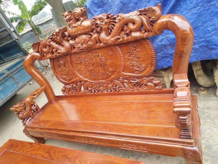Bộ bàn ghế trạm nghê đỉnh gỗ hương vân5