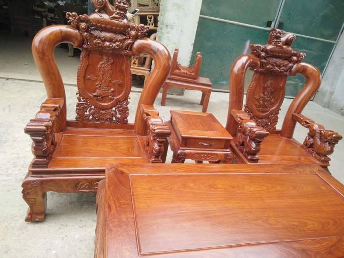 Bộ bàn ghế trạm nghê đỉnh gỗ hương vân6