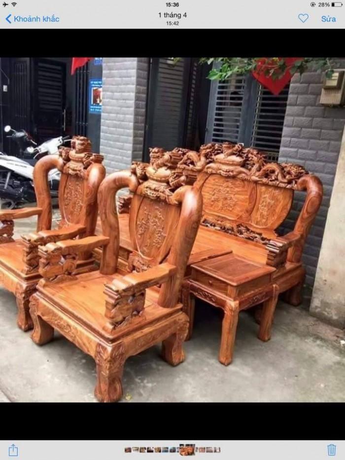 Bộ bàn ghế trạm nghê đỉnh gỗ hương vân8