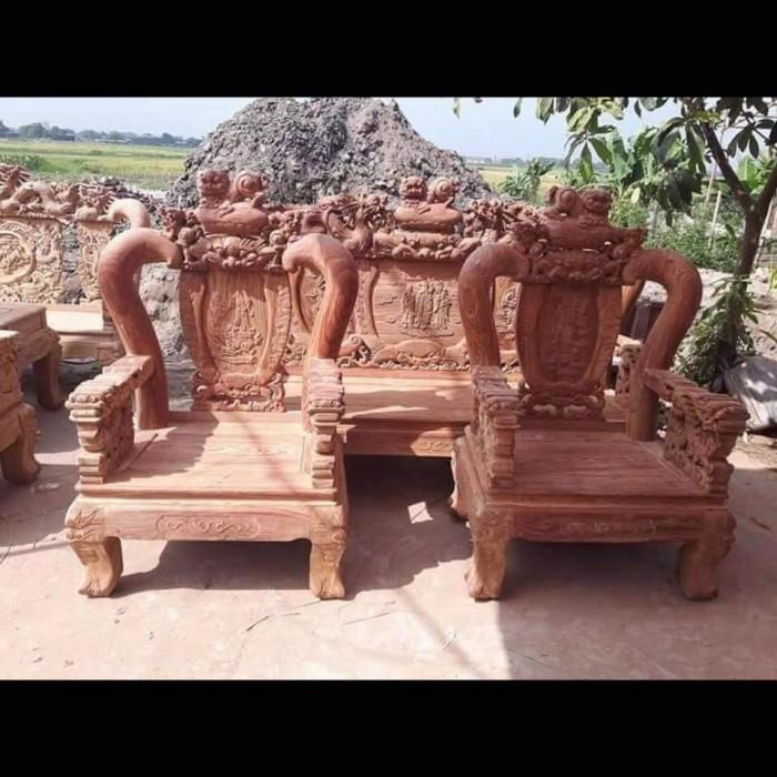 Bộ bàn ghế trạm nghê đỉnh gỗ hương vân7