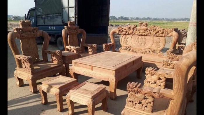 Bộ bàn ghế trạm nghê đỉnh gỗ hương vân9