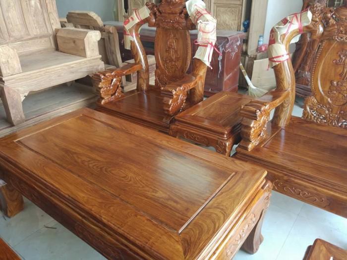 Bộ bàn ghế trạm nghê đỉnh gỗ hương vân11