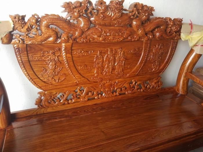 Bộ bàn ghế trạm nghê đỉnh gỗ hương vân12