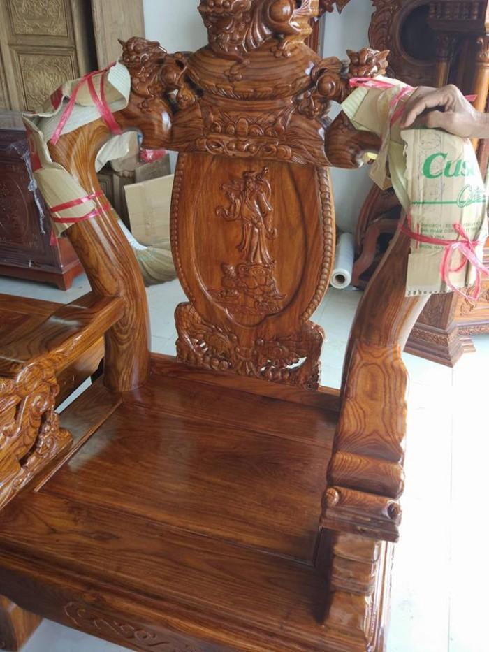Bộ bàn ghế trạm nghê đỉnh gỗ hương vân14