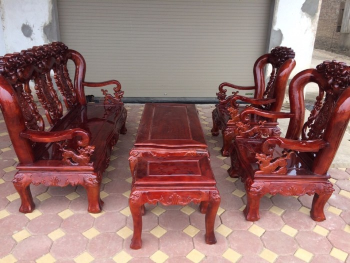 Bộ bàn ghế giả cổ hoa lá tây gỗ xà cừ0