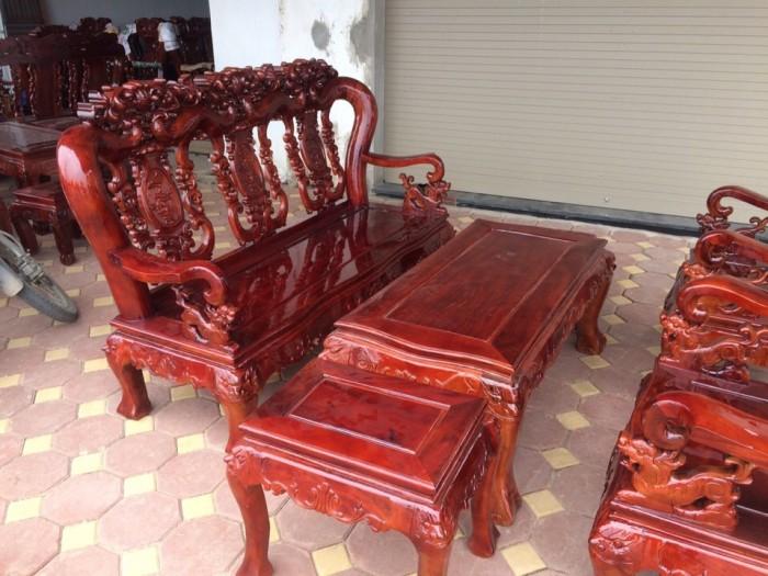 Bộ bàn ghế giả cổ hoa lá tây gỗ xà cừ1
