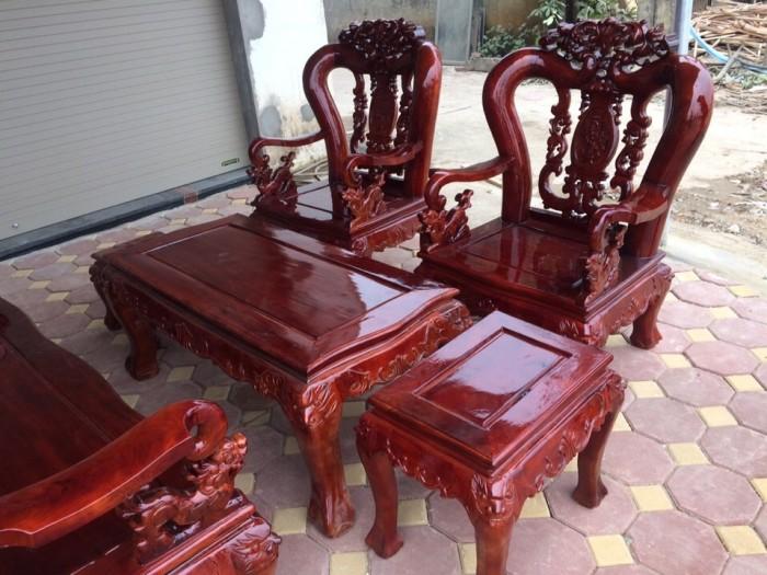 Bộ bàn ghế giả cổ hoa lá tây gỗ xà cừ2