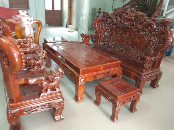 Bộ Bàn Ghế Nghê Đỉnh Tay Khuỳnh Gỗ Hương Vân0