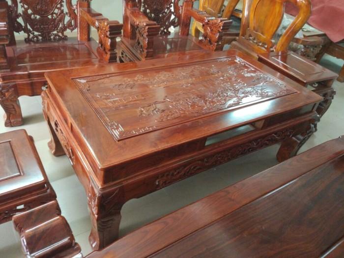 Bộ Bàn Ghế Nghê Đỉnh Tay Khuỳnh Gỗ Hương Vân2