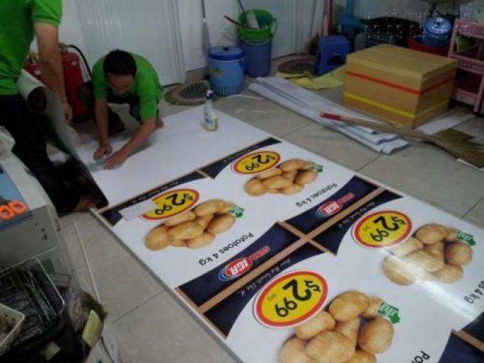 In PP cán format làm bảng giá cho siêu thị, cửa hàng thực phẩm nhập khẩu