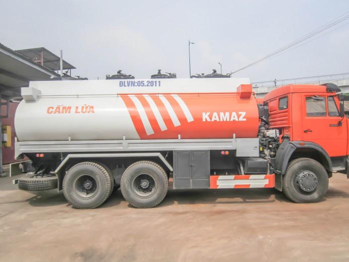Xe bồn xăng dầu kamaz thùng xi téc 16-18m3, thép CT3, đáy 4mm thành bồn 4mm 5