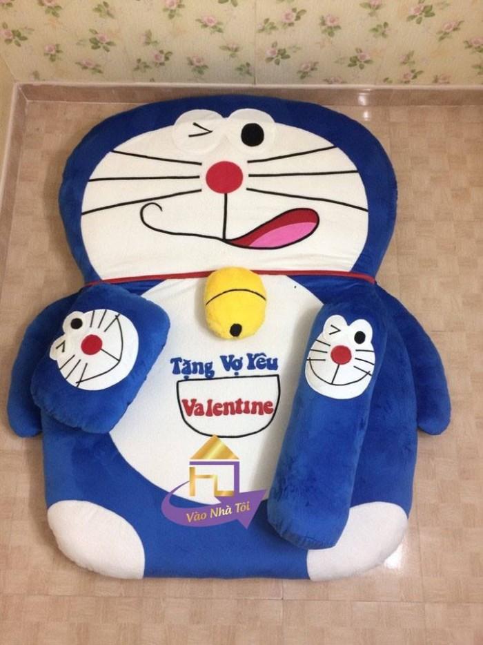 Nệm Thú Bông Cao Cấp Nhật Bản Doremon xanh Bích, miệng Méo 140x190cm0