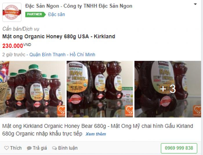 Mặt hàng Mật ong Mỹ tham gia VIP Partner trên Mua Bán Nhanh