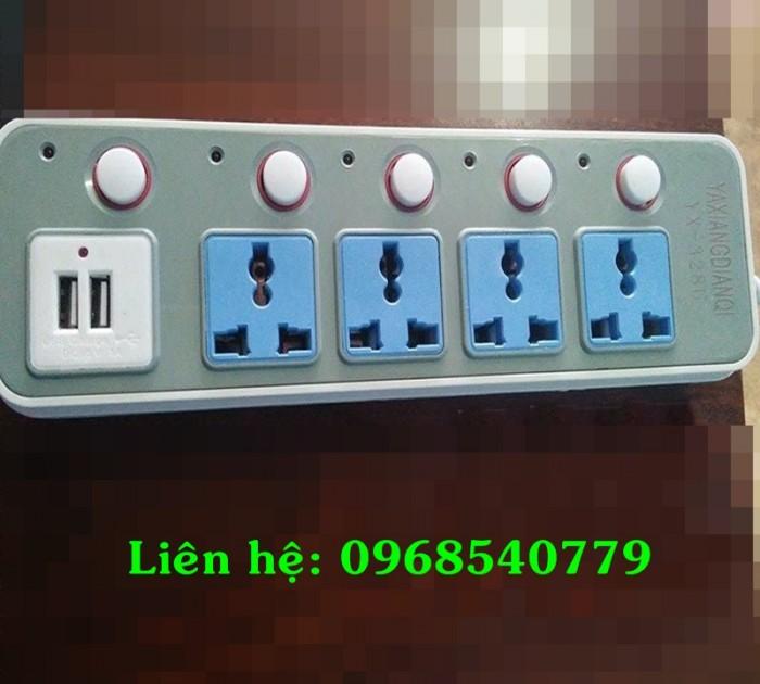Ổ cắm điện đa năng tích hợp 2 cổng USB và 4 ổ cắm 2500W