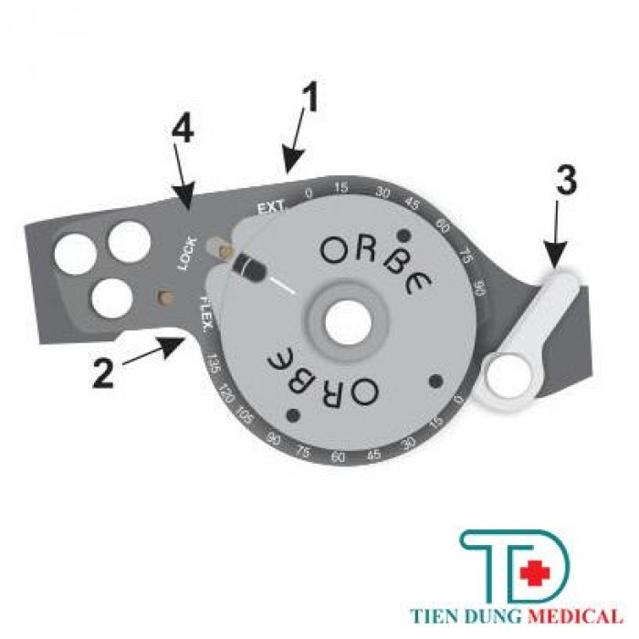 A Ext(1): Duỗi khớp gối (độ). Flex(2): Ấp khớp gối (độ). Chốt(3): Để khóa gối ở tư thế thẳng 00. Lock(4): Khóa hãm vòng điều chỉnh.2