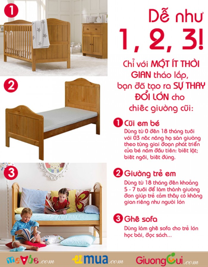 Cũi trẻ em Darling màu tự nhiên gồm 3 chức năng sử dụng như dùng làm cũi em bé từ 0 đến 24 tháng, giường đơn trẻ em từ 18 tháng trở lên và ghế salon khi trẻ lớn 5 - 7 tuổi (tùy theo sự phát triển và thể trạng của từng bé)0