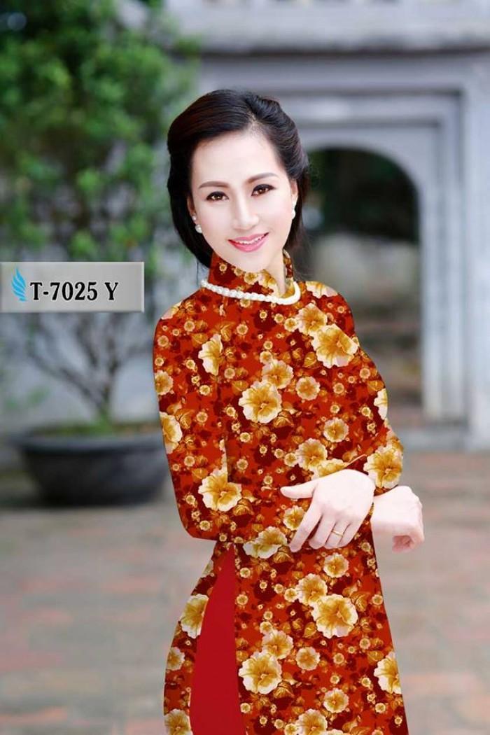 Vải áo dài hoa đẹp, hoa văn nguyên áo