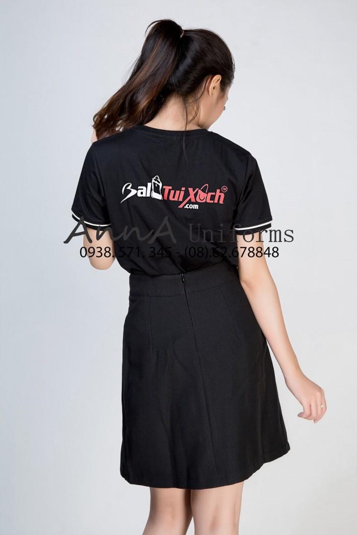 May áo thun nữ đồng phục cho công ty Ba Lô Túi Xách được thiết kế và may gia công trọn gói tại AnnA Uniforms.