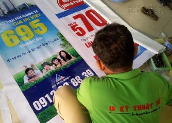 In poster nhanh chóng chất liệu hiflex - chuyên dụng cho quảng cáo ngoài trời - không ngại mưa gió - bay màu