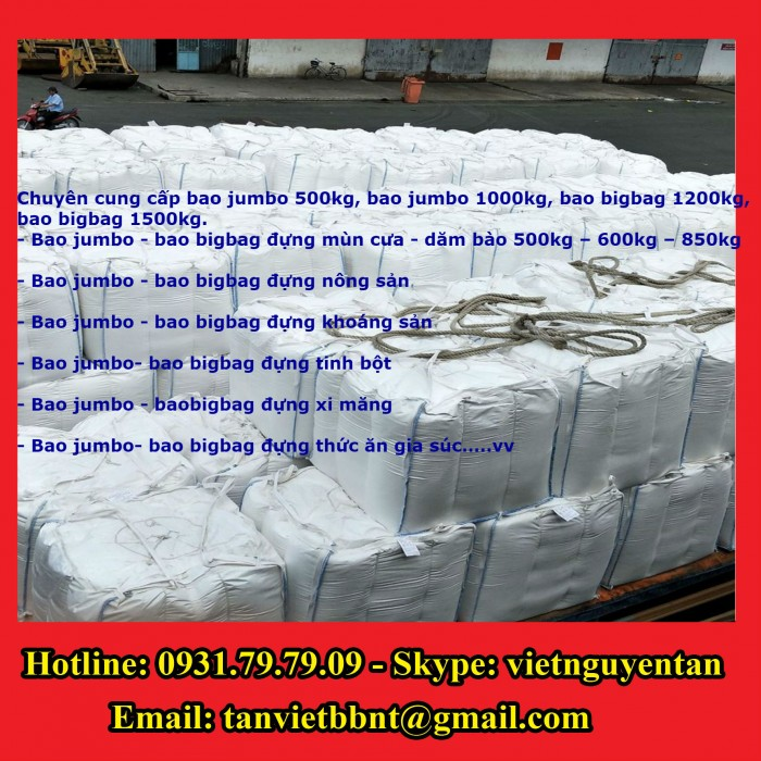 Bao Jumbo 1000kg, Bao Jumbo 2000kg, Bao Jumbo đựng gạo, Bao Jumbo đựng bột mỳ0